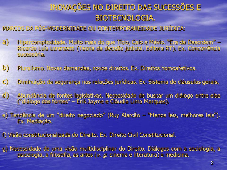2 INOVAÇÕES NO DIREITO DAS SUCESSÕES E BIOTECNOLOGIA.