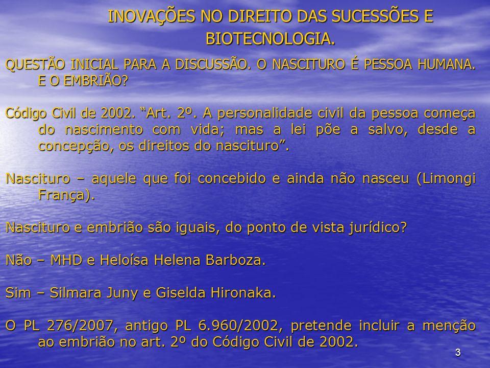 3 INOVAÇÕES NO DIREITO DAS SUCESSÕES E BIOTECNOLOGIA.