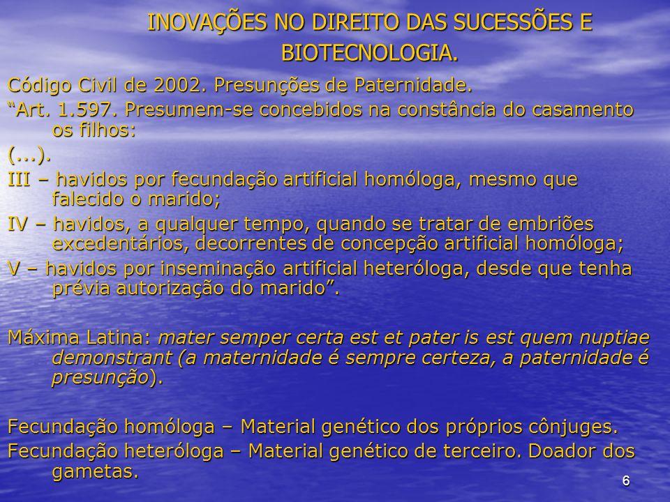 6 INOVAÇÕES NO DIREITO DAS SUCESSÕES E BIOTECNOLOGIA.
