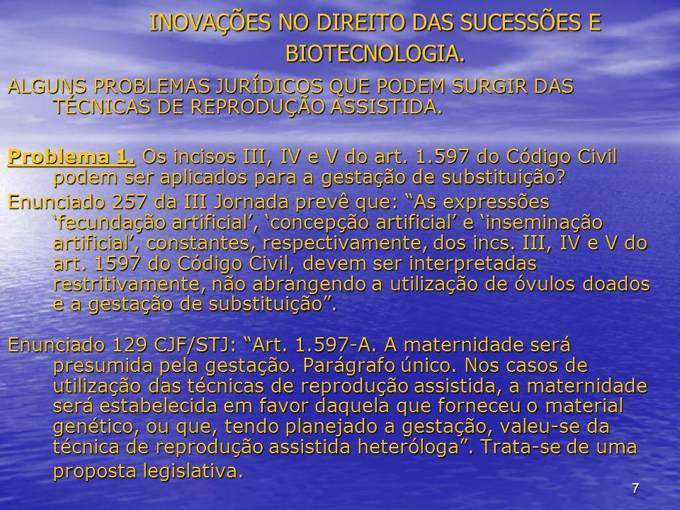 7 INOVAÇÕES NO DIREITO DAS SUCESSÕES E BIOTECNOLOGIA.
