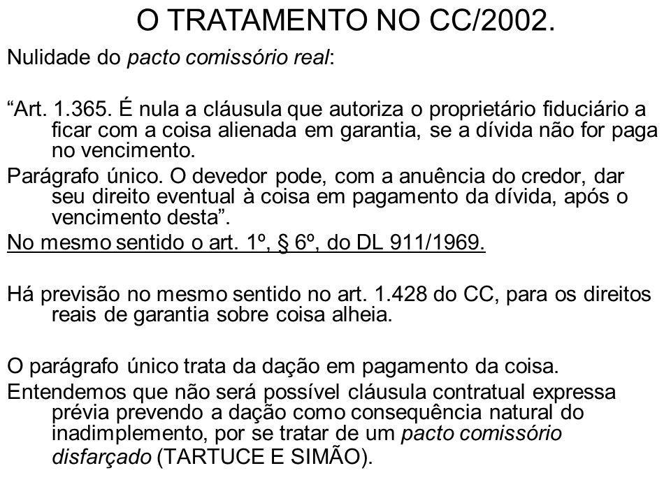 Nulidade do pacto comissório real: Art. 1.365. É nula a cláusula que autoriza o proprietário fiduciário a ficar com a coisa alienada em garantia, se a