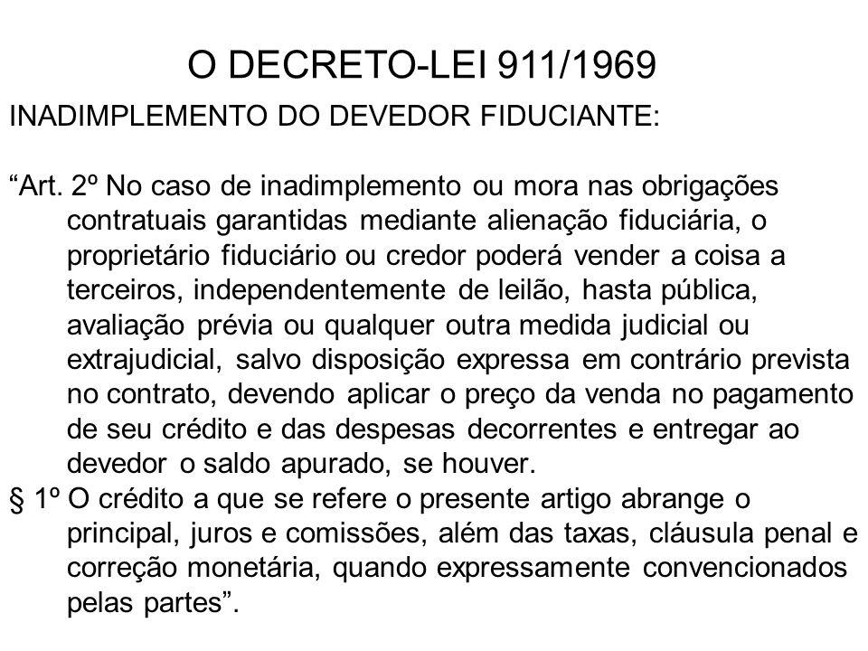 INADIMPLEMENTO DO DEVEDOR FIDUCIANTE: Art. 2º No caso de inadimplemento ou mora nas obrigações contratuais garantidas mediante alienação fiduciária, o