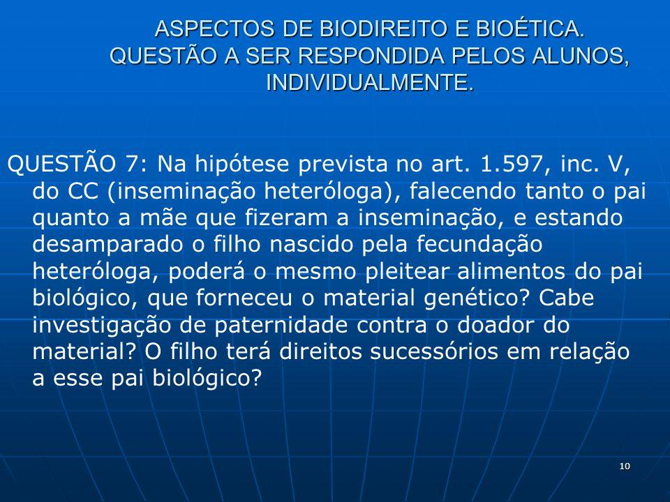 10 ASPECTOS DE BIODIREITO E BIOÉTICA. QUESTÃO A SER RESPONDIDA PELOS ALUNOS, INDIVIDUALMENTE. QUESTÃO 7: Na hipótese prevista no art. 1.597, inc. V, d