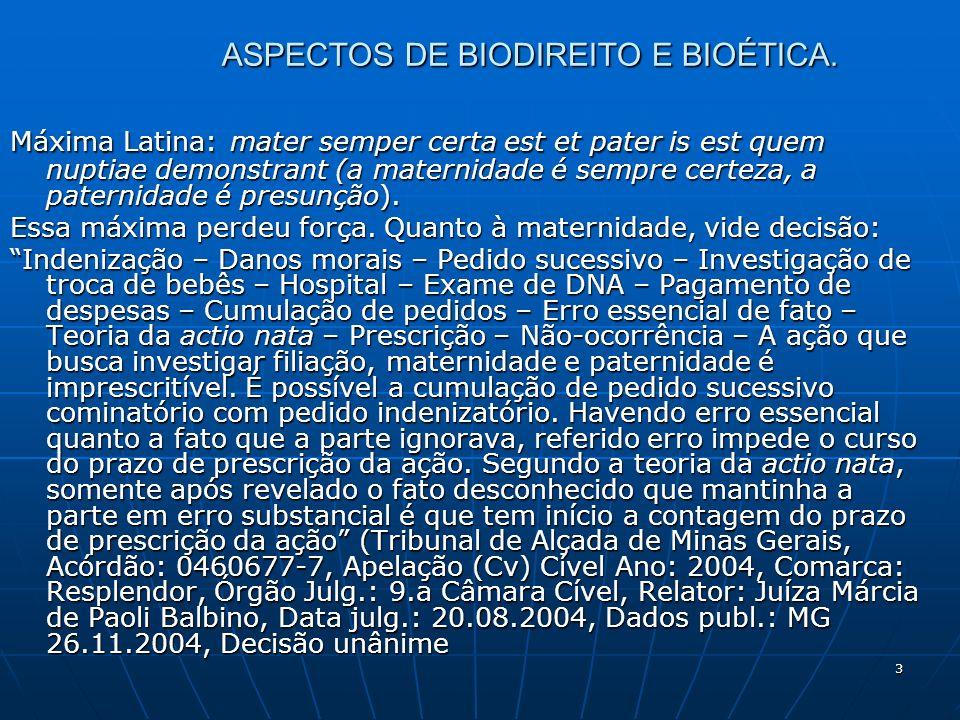 3 ASPECTOS DE BIODIREITO E BIOÉTICA. Máxima Latina: mater semper certa est et pater is est quem nuptiae demonstrant (a maternidade é sempre certeza, a
