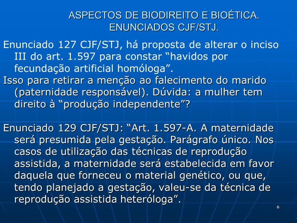 6 ASPECTOS DE BIODIREITO E BIOÉTICA. ENUNCIADOS CJF/STJ. Enunciado 127 CJF/STJ, há proposta de alterar o inciso III do art. 1.597 para constar havidos