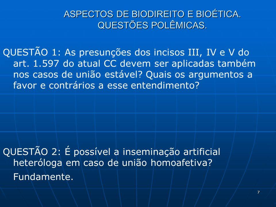 7 ASPECTOS DE BIODIREITO E BIOÉTICA. QUESTÕES POLÊMICAS. QUESTÃO 1: As presunções dos incisos III, IV e V do art. 1.597 do atual CC devem ser aplicada