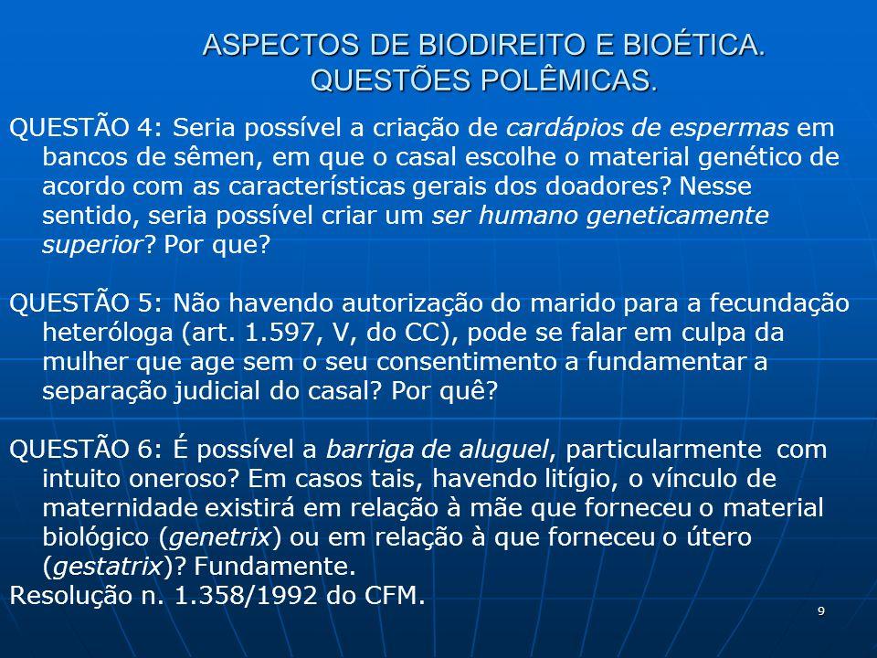 9 ASPECTOS DE BIODIREITO E BIOÉTICA. QUESTÕES POLÊMICAS.