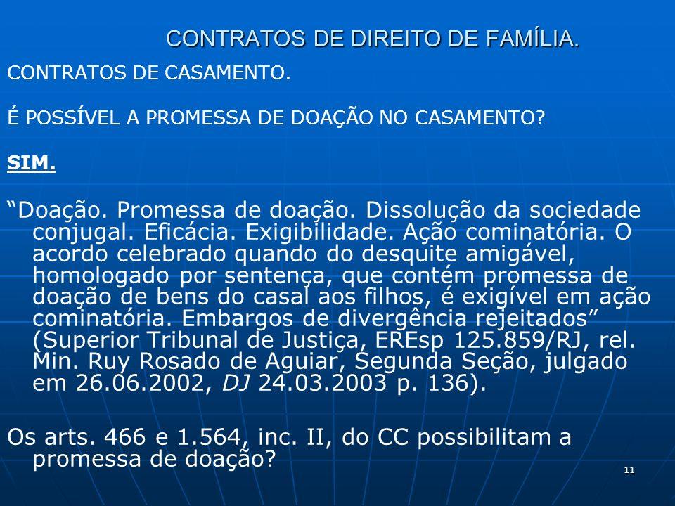 11 CONTRATOS DE DIREITO DE FAMÍLIA. CONTRATOS DE CASAMENTO.
