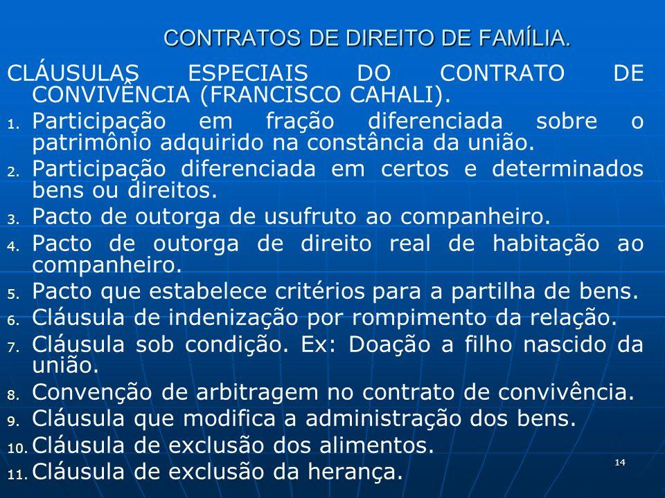 14 CONTRATOS DE DIREITO DE FAMÍLIA. CLÁUSULAS ESPECIAIS DO CONTRATO DE CONVIVÊNCIA (FRANCISCO CAHALI). 1. 1. Participação em fração diferenciada sobre