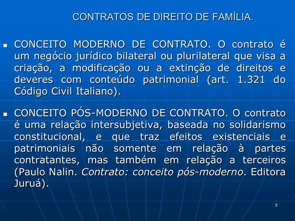 2 CONTRATOS DE DIREITO DE FAMÍLIA. CONCEITO MODERNO DE CONTRATO. O contrato é um negócio jurídico bilateral ou plurilateral que visa a criação, a modi