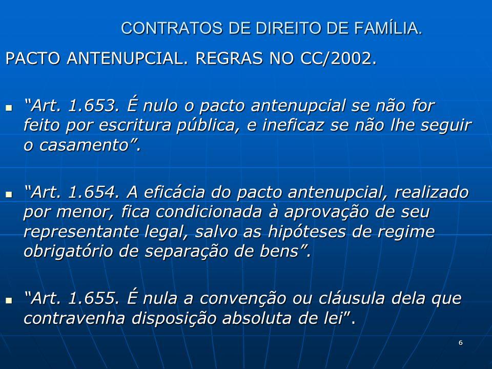 6 CONTRATOS DE DIREITO DE FAMÍLIA. PACTO ANTENUPCIAL. REGRAS NO CC/2002. Art. 1.653. É nulo o pacto antenupcial se não for feito por escritura pública