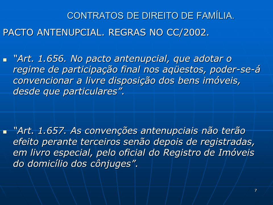 7 CONTRATOS DE DIREITO DE FAMÍLIA. PACTO ANTENUPCIAL. REGRAS NO CC/2002. Art. 1.656. No pacto antenupcial, que adotar o regime de participação final n
