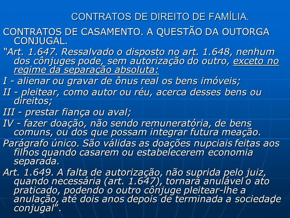 9 CONTRATOS DE DIREITO DE FAMÍLIA.CONTRATOS DE CASAMENTO.