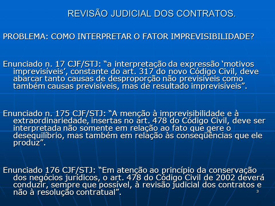 3 REVISÃO JUDICIAL DOS CONTRATOS. PROBLEMA: COMO INTERPRETAR O FATOR IMPREVISIBILIDADE.