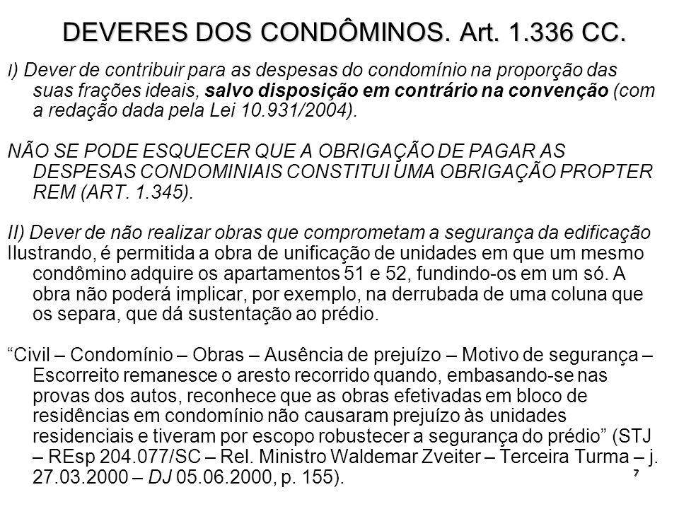 7 DEVERES DOS CONDÔMINOS. Art. 1.336 CC. I ) Dever de contribuir para as despesas do condomínio na proporção das suas frações ideais, salvo disposição