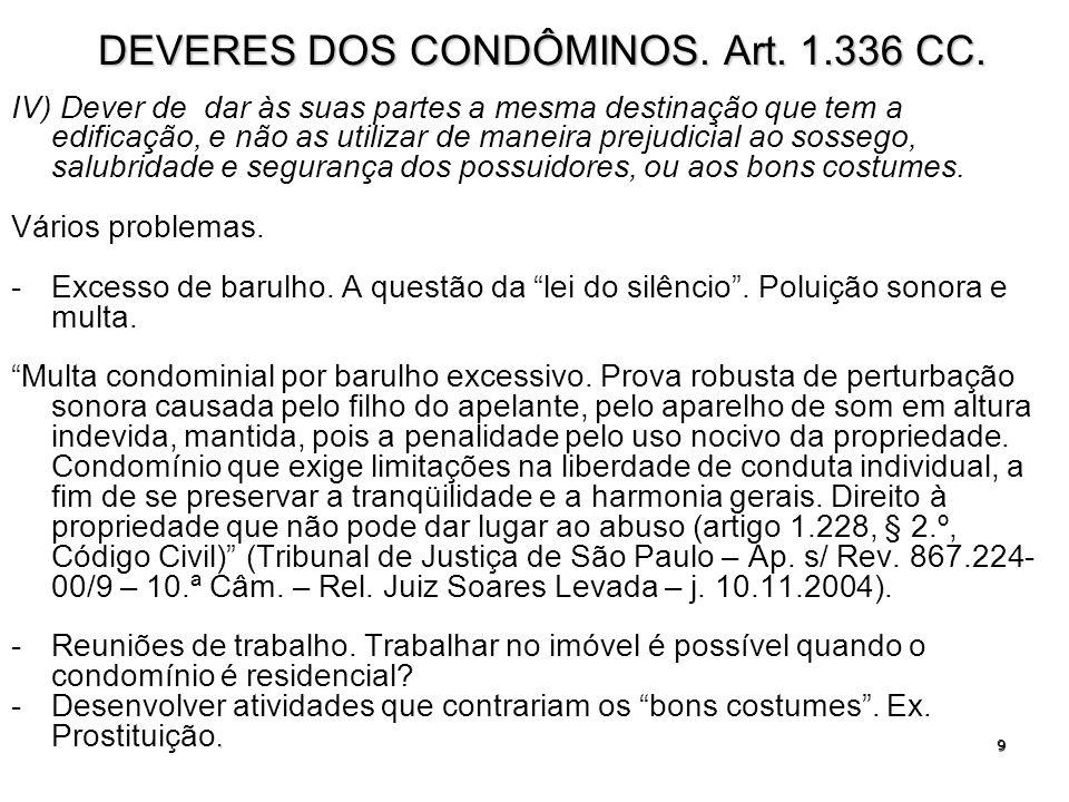 10 SANÇÕES AOS CONDÔMINOS.ART. 1.336.