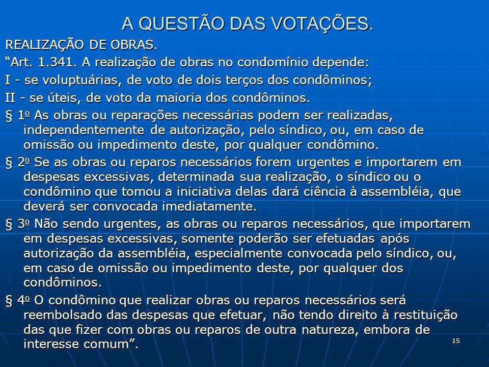 15 A QUESTÃO DAS VOTAÇÕES. REALIZAÇÃO DE OBRAS. Art. 1.341. A realização de obras no condomínio depende: I - se voluptuárias, de voto de dois terços d