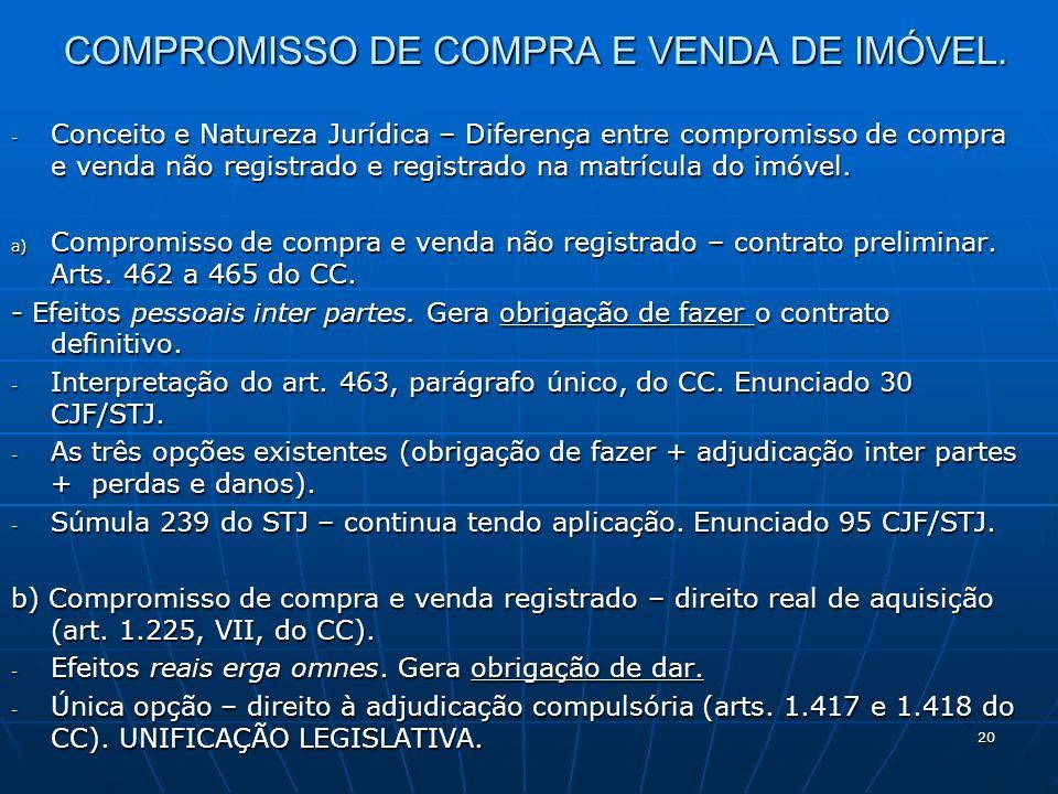 20 COMPROMISSO DE COMPRA E VENDA DE IMÓVEL. - Conceito e Natureza Jurídica – Diferença entre compromisso de compra e venda não registrado e registrado