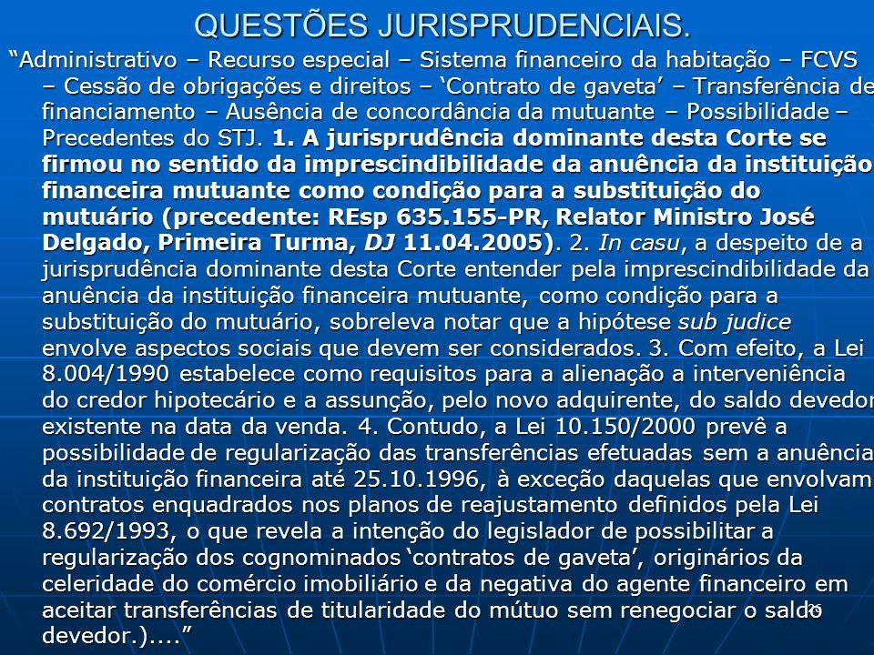 26 QUESTÕES JURISPRUDENCIAIS. Administrativo – Recurso especial – Sistema financeiro da habitação – FCVS – Cessão de obrigações e direitos – Contrato