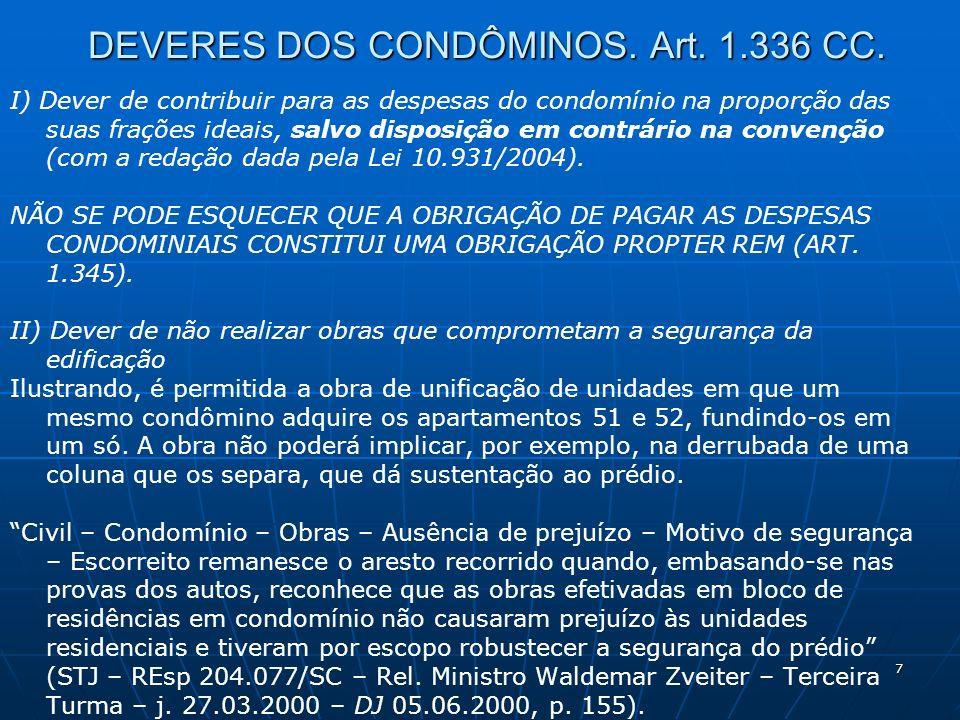 7 DEVERES DOS CONDÔMINOS. Art. 1.336 CC. I) Dever de contribuir para as despesas do condomínio na proporção das suas frações ideais, salvo disposição