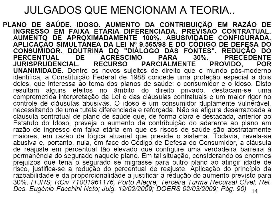 14 JULGADOS QUE MENCIONAM A TEORIA.. PLANO DE SAÚDE.