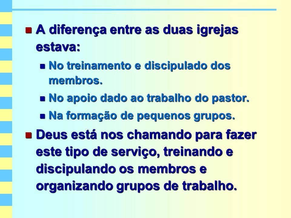 A diferença entre as duas igrejas estava: A diferença entre as duas igrejas estava: No treinamento e discipulado dos membros. No treinamento e discipu