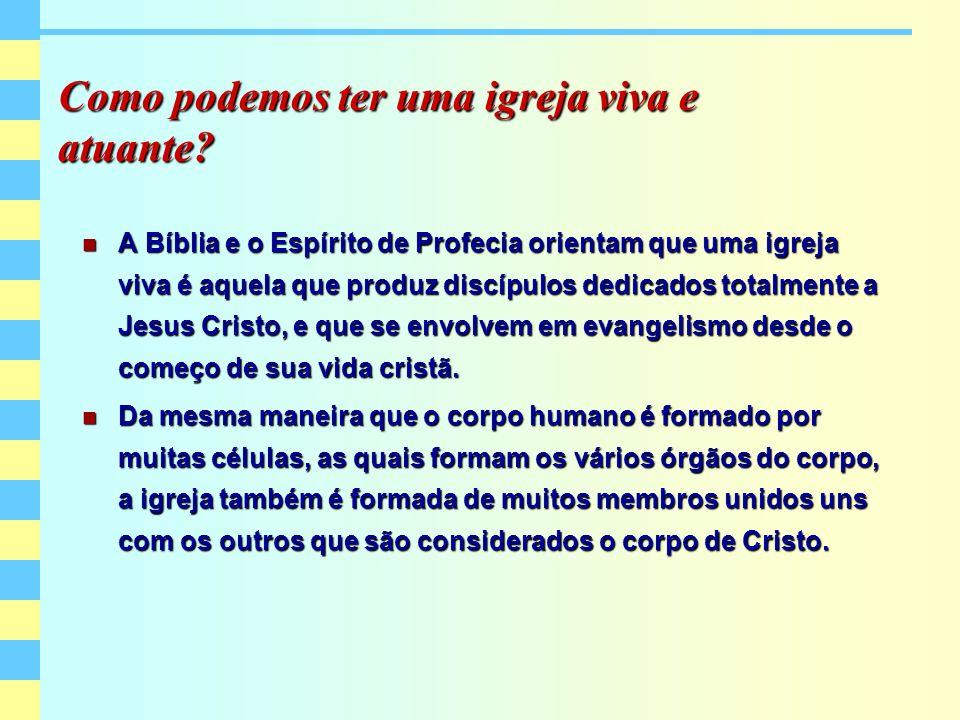 Como podemos ter uma igreja viva e atuante? A Bíblia e o Espírito de Profecia orientam que uma igreja viva é aquela que produz discípulos dedicados to