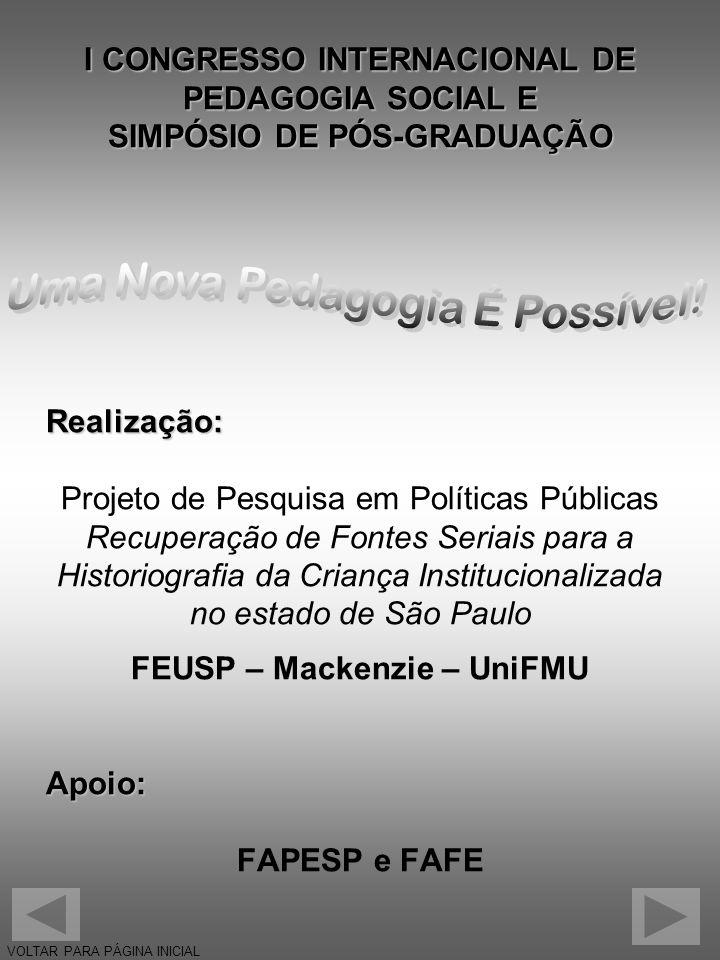 I CONGRESSO INTERNACIONAL DE PEDAGOGIA SOCIAL E SIMPÓSIO DE PÓS-GRADUAÇÃO Realização: Projeto de Pesquisa em Políticas Públicas Recuperação de Fontes