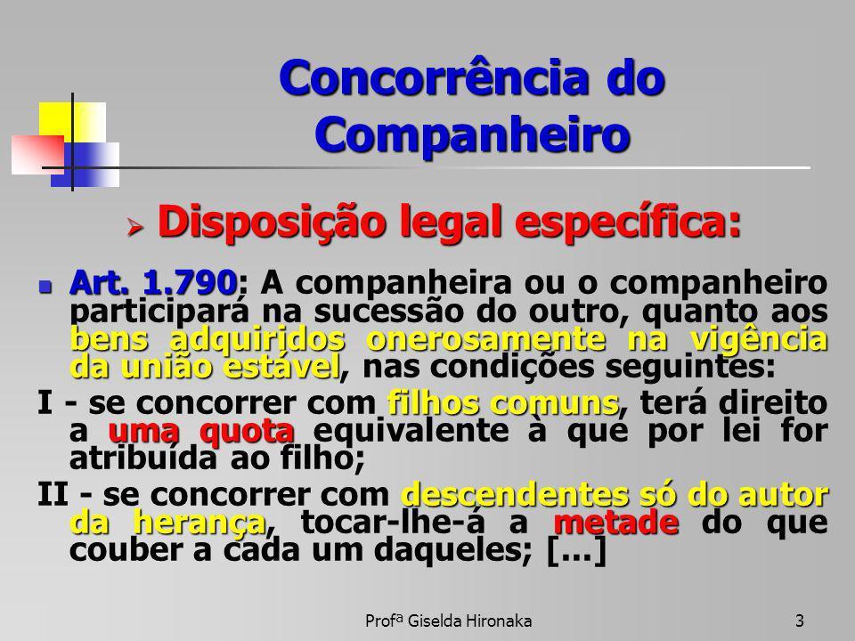 Profª Giselda Hironaka3 Concorrência do Companheiro Disposição legal específica: Disposição legal específica: Art. 1.790 bens adquiridos onerosamente