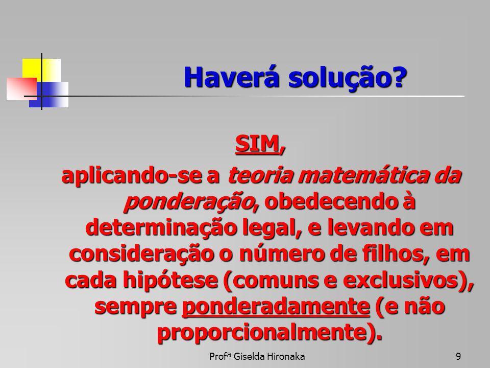 Profª Giselda Hironaka9 Haverá solução? SIM, aplicando-se a teoria matemática da ponderação, obedecendo à determinação legal, e levando em consideraçã