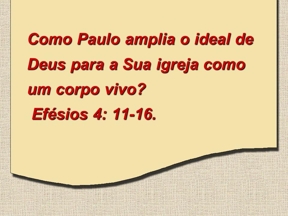 Como Paulo amplia o ideal de Deus para a Sua igreja como um corpo vivo? Efésios 4: 11-16.