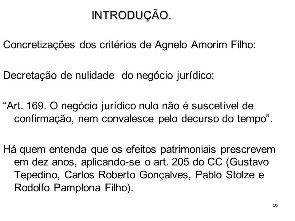 10INTRODUÇÃO. Concretizações dos critérios de Agnelo Amorim Filho: Decretação de nulidade do negócio jurídico: Art. 169. O negócio jurídico nulo não é