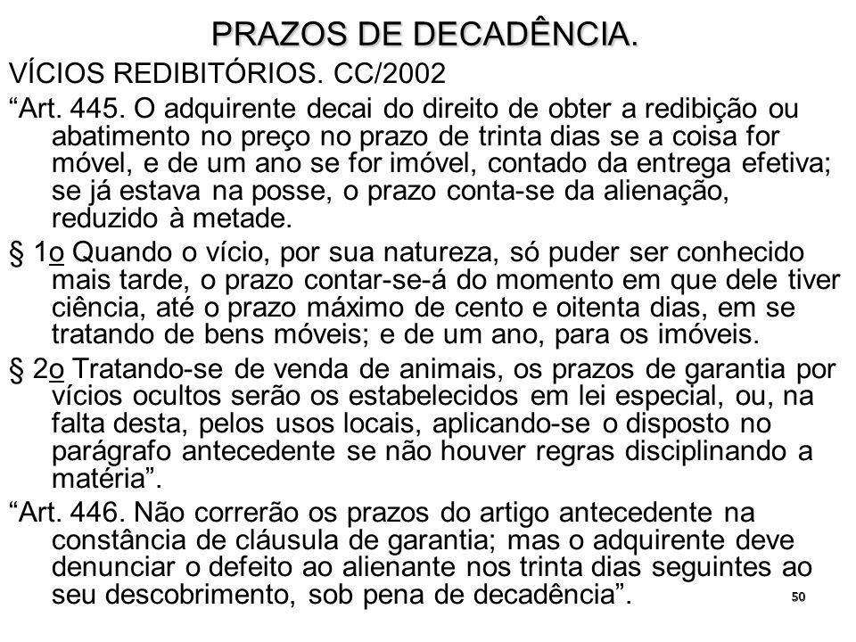 50 PRAZOS DE DECADÊNCIA. VÍCIOS REDIBITÓRIOS. CC/2002 Art. 445. O adquirente decai do direito de obter a redibição ou abatimento no preço no prazo de