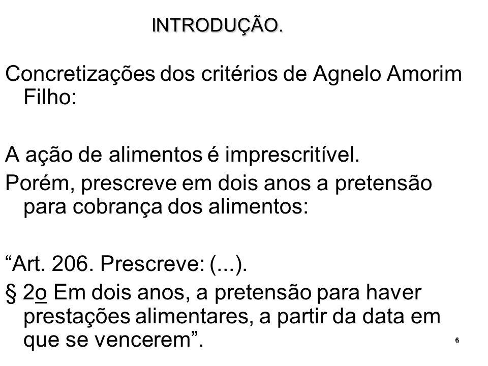 6INTRODUÇÃO. Concretizações dos critérios de Agnelo Amorim Filho: A ação de alimentos é imprescritível. Porém, prescreve em dois anos a pretensão para