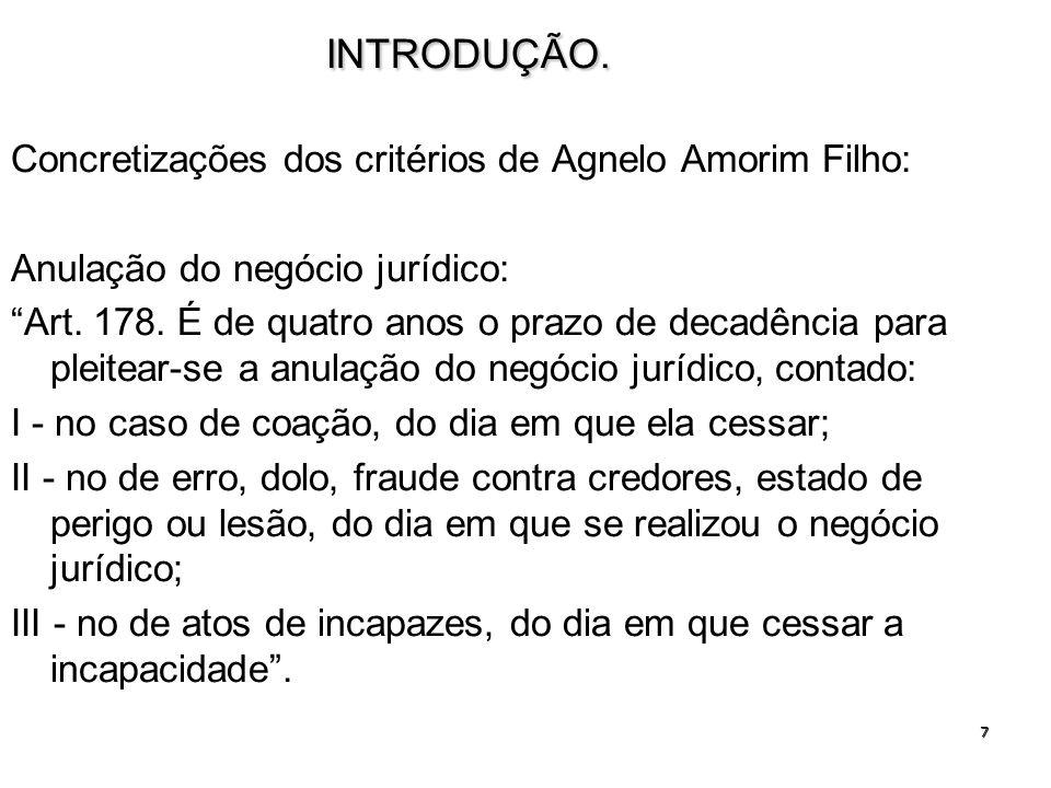 7INTRODUÇÃO. Concretizações dos critérios de Agnelo Amorim Filho: Anulação do negócio jurídico: Art. 178. É de quatro anos o prazo de decadência para