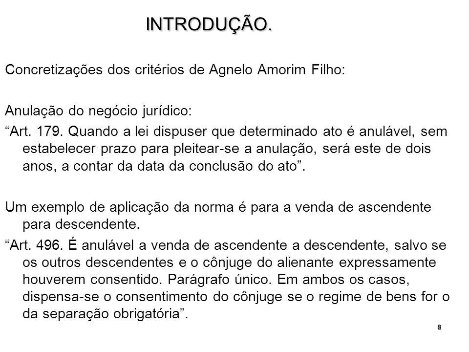 8INTRODUÇÃO. Concretizações dos critérios de Agnelo Amorim Filho: Anulação do negócio jurídico: Art. 179. Quando a lei dispuser que determinado ato é