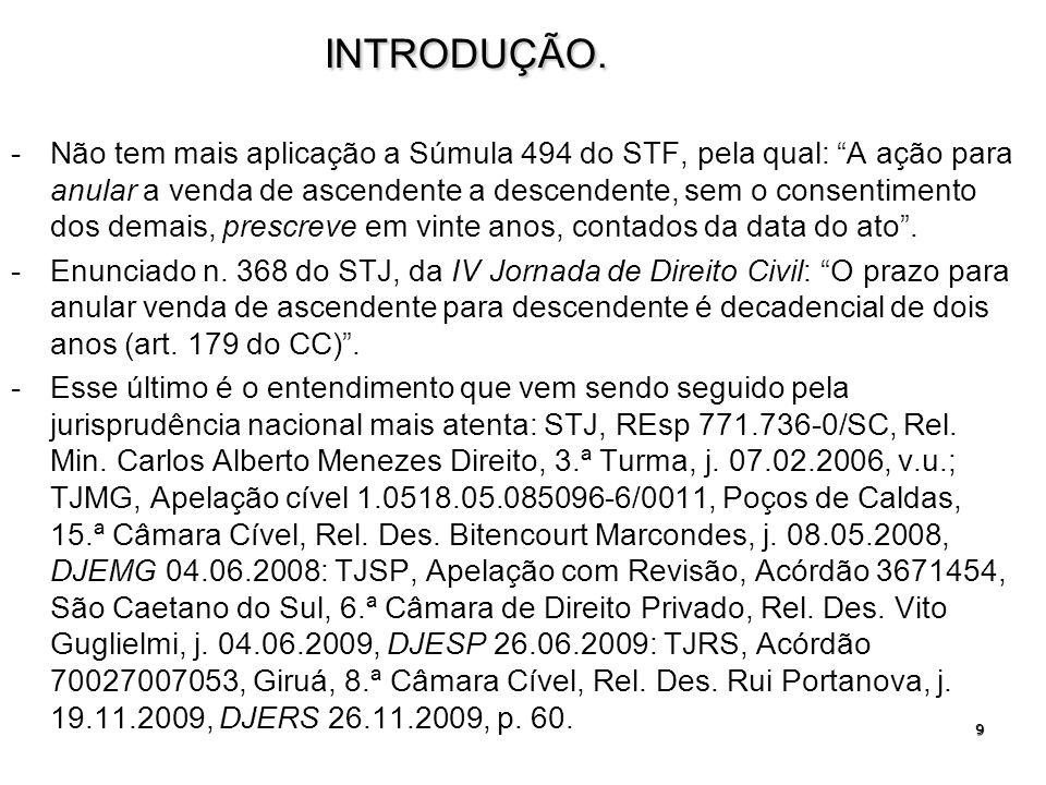 9INTRODUÇÃO. -Não tem mais aplicação a Súmula 494 do STF, pela qual: A ação para anular a venda de ascendente a descendente, sem o consentimento dos d