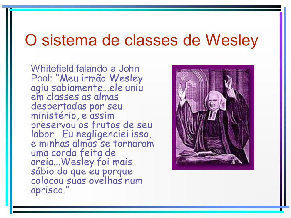 O sistema de classes de Wesley Whitefield falando a John Pool: Meu irmão Wesley agiu sabiamente…ele uniu em classes as almas despertadas por seu minis