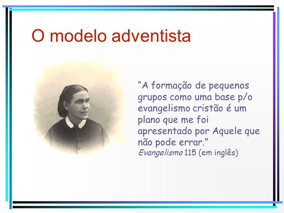 O modelo adventista A formação de pequenos grupos como uma base p/o evangelismo cristão é um plano que me foi apresentado por Aquele que não pode erra