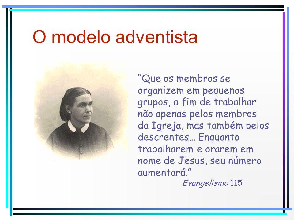 O modelo adventista Que os membros se organizem em pequenos grupos, a fim de trabalhar não apenas pelos membros da Igreja, mas também pelos descrentes