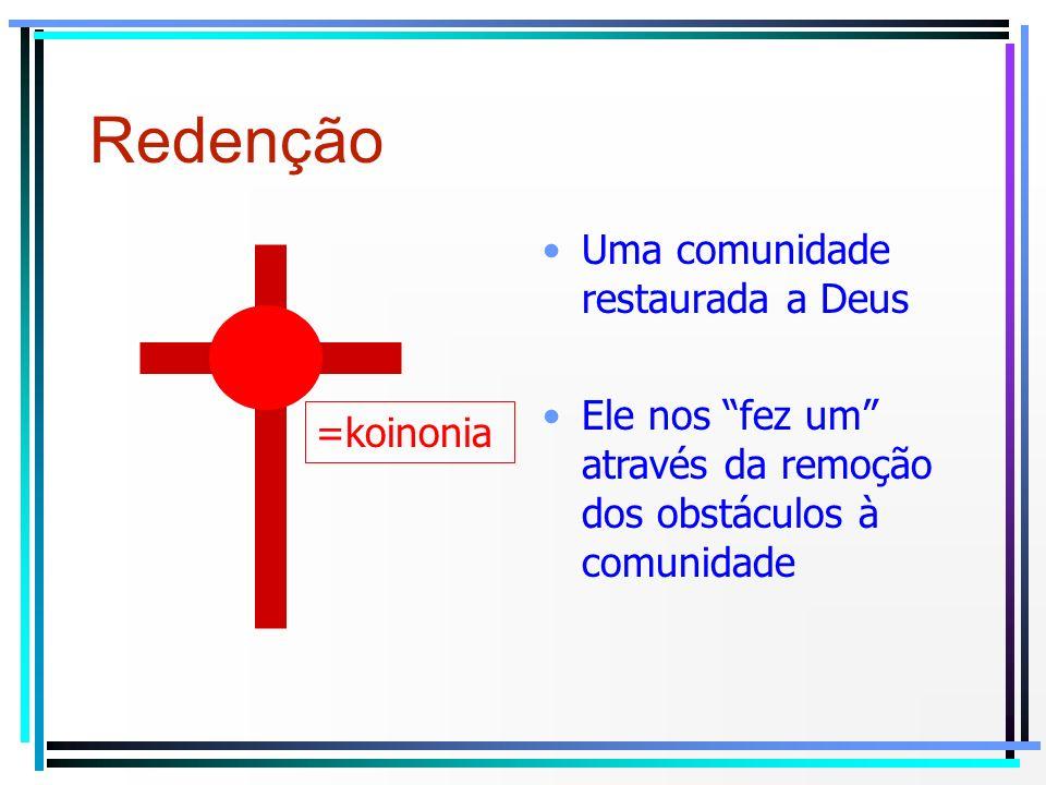Uma comunidade restaurada a Deus Redenção Ele nos fez um através da remoção dos obstáculos à comunidade =koinonia