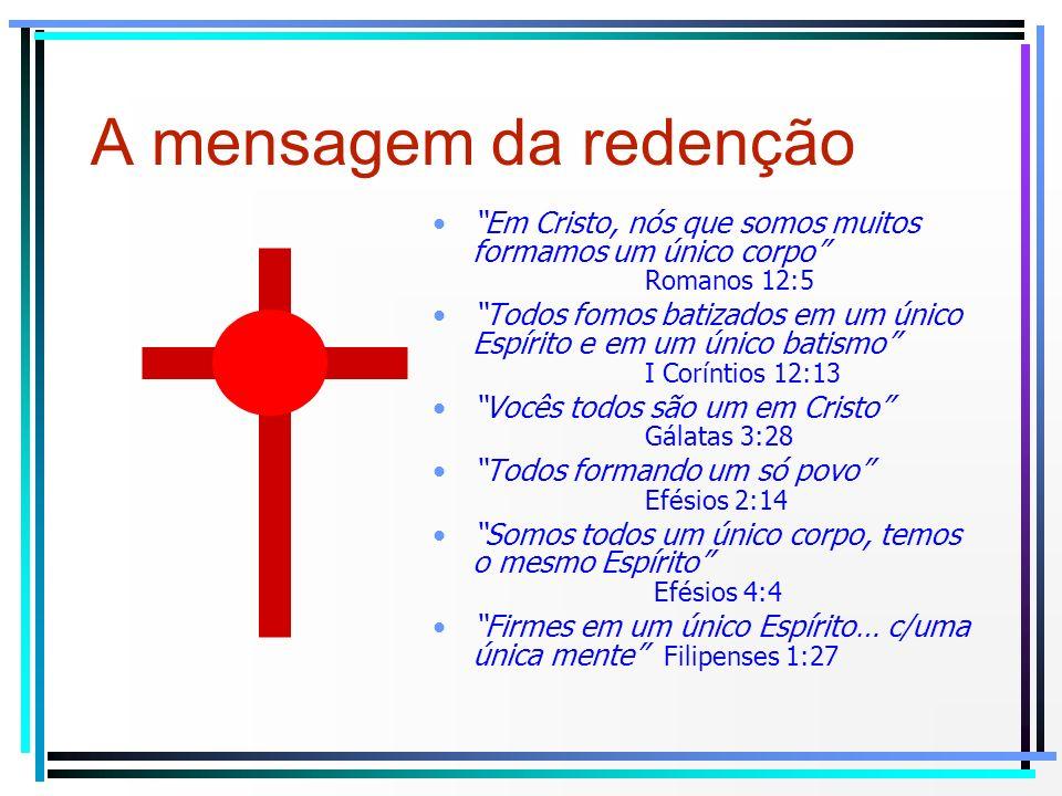 Em Cristo, nós que somos muitos formamos um único corpo Romanos 12:5 Todos fomos batizados em um único Espírito e em um único batismo I Coríntios 12:1