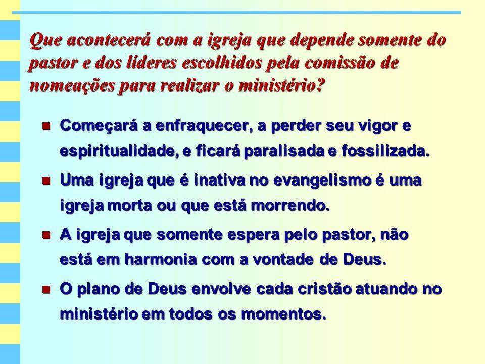 Que acontecerá com a igreja que depende somente do pastor e dos líderes escolhidos pela comissão de nomeações para realizar o ministério? Começará a e