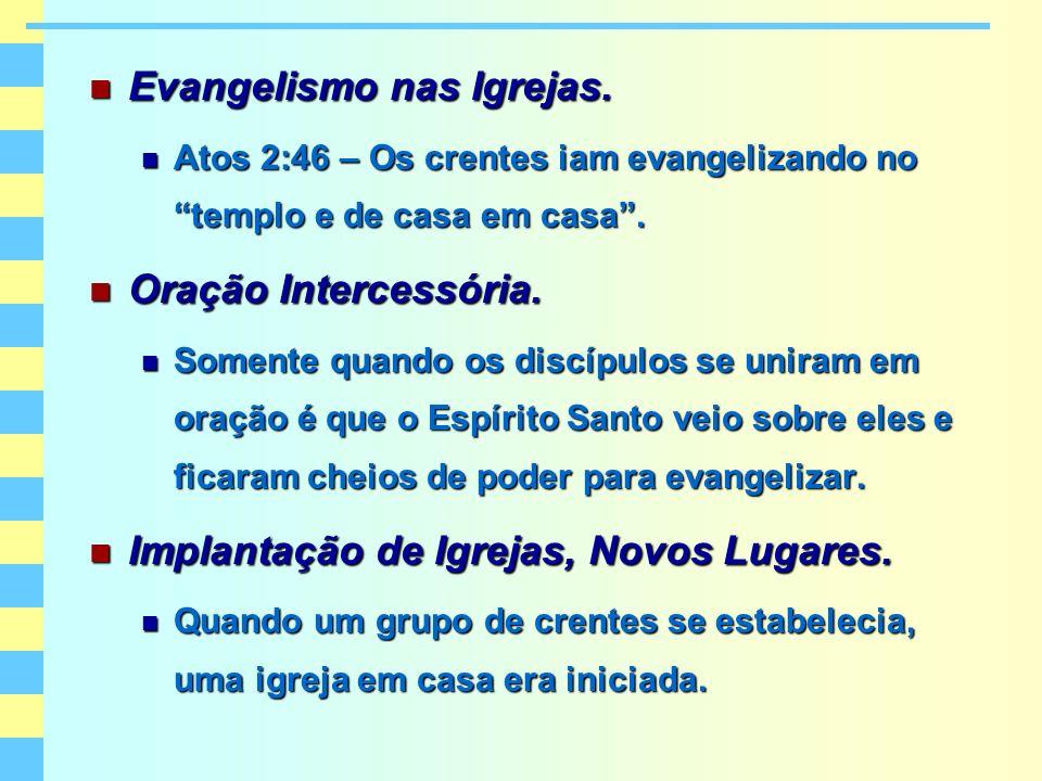 Evangelismo nas Igrejas. Evangelismo nas Igrejas. Atos 2:46 – Os crentes iam evangelizando no templo e de casa em casa. Atos 2:46 – Os crentes iam eva