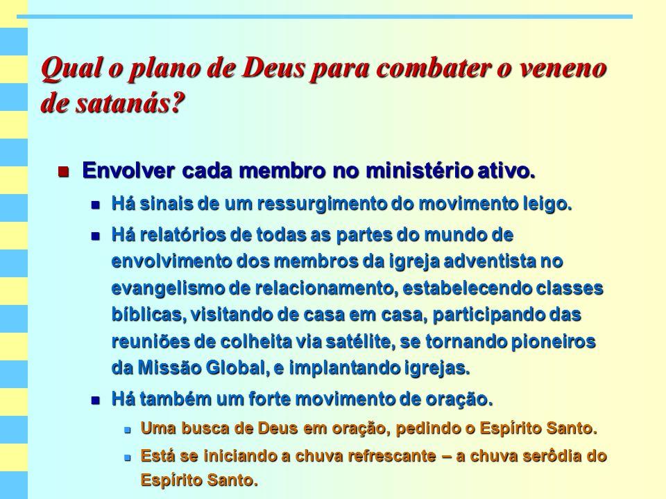 Qual o plano de Deus para combater o veneno de satanás? Envolver cada membro no ministério ativo. Envolver cada membro no ministério ativo. Há sinais