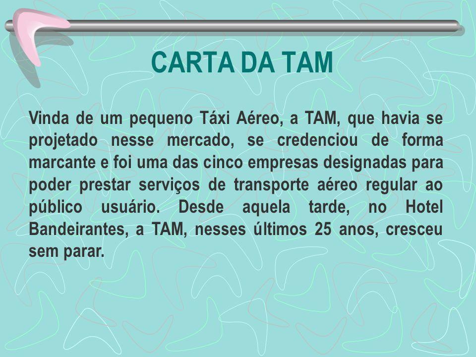 CARTA DA TAM Vinda de um pequeno Táxi Aéreo, a TAM, que havia se projetado nesse mercado, se credenciou de forma marcante e foi uma das cinco empresas