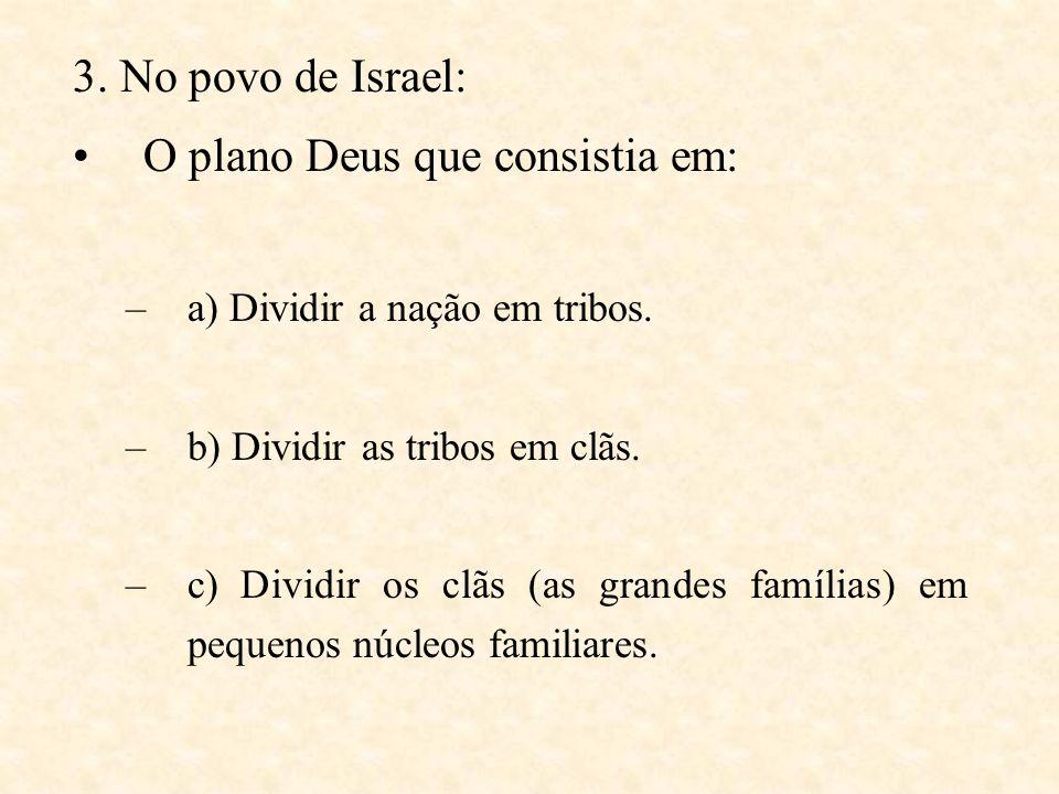 3.No povo de Israel: O plano Deus que consistia em: –a) Dividir a nação em tribos.