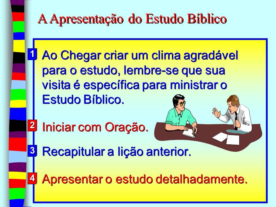 13 Ao Chegar criar um clima agradável para o estudo, lembre-se que sua visita é específica para ministrar o Estudo Bíblico. Iniciar com Oração. Recapi