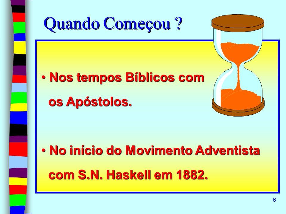 6 Quando Começou ? Nos tempos Bíblicos com Nos tempos Bíblicos com os Apóstolos. os Apóstolos. No início do Movimento Adventista No início do Moviment