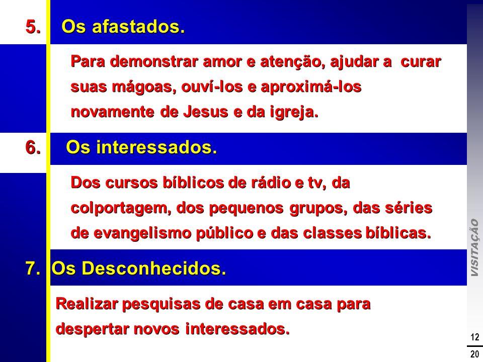 VISITAÇÃO 12 20 5. Os afastados. Para demonstrar amor e atenção, ajudar a curar suas mágoas, ouví-los e aproximá-los novamente de Jesus e da igreja. 6